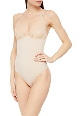 Stella Mccartney Woman Amber Imagining Stretch-lace And Jersey Soft-cup Bodysuit Cream