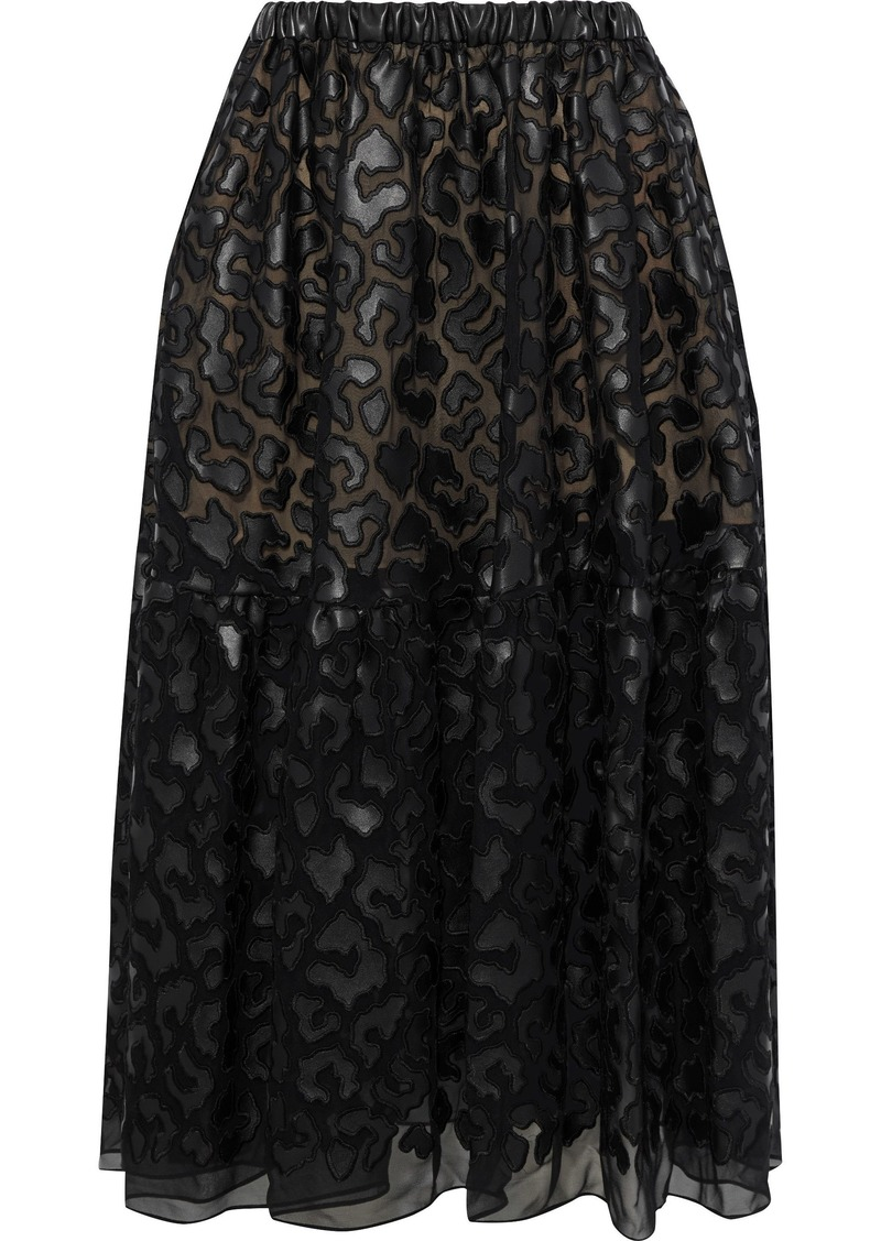 Stella Mccartney Woman Animalier Faux Leather-appliquéd Chiffon Midi Skirt Black