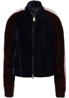 Stella Mccartney Woman Appliquéd Color-block Velvet Jacket Midnight Blue