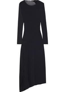 Stella Mccartney Woman Asymmetric Burnout-effect Stretch-knit Midi Dress Black