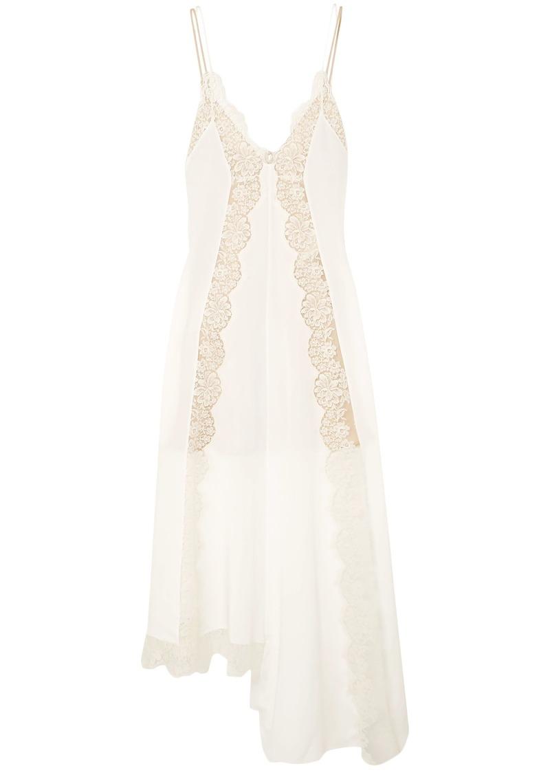 Stella Mccartney Woman Asymmetric Lace-trimmed Silk Crepe De Chine Dress Ivory
