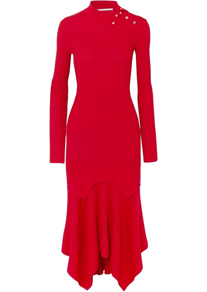 Stella Mccartney Woman Asymmetric Ribbed Wool And Silk-blend Dress Red