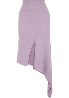 Stella Mccartney Woman Asymmetric Ribbed Wool Skirt Lilac