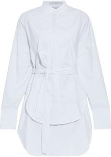 Stella Mccartney Woman Audrina Layered Pinstriped Cotton-poplin Mini Shirt Dress White