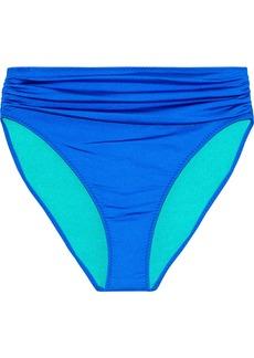 Stella Mccartney Woman Ballet Ruched High-rise Bikini Briefs Bright Blue