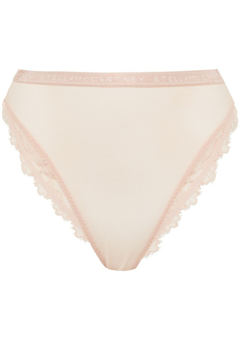 Stella Mccartney Woman Bea Treasuring Lace-trimmed Stretch-tulle High-rise Briefs Blush