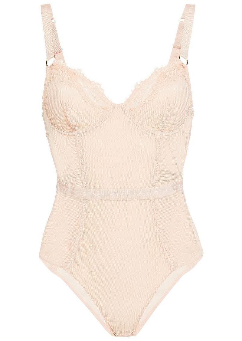 Stella Mccartney Woman Bea Treasuring Stretch-mesh Underwired Bodysuit Pastel Pink