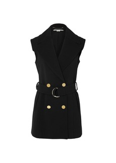 Stella Mccartney Woman Belted Double-breasted Wool-blend Vest Black