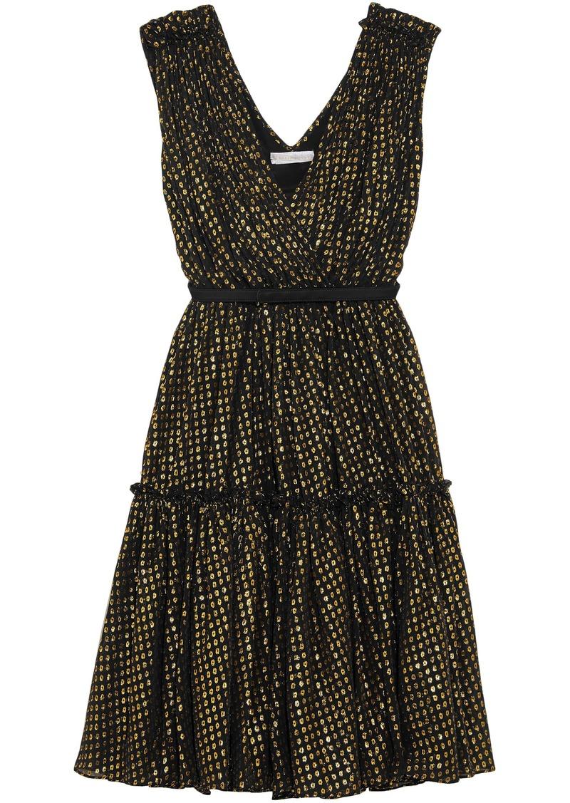 Stella Mccartney Woman Belted Metallic Fil Coupé Silk-blend Dress Black