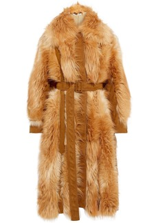 Stella Mccartney Woman Belted Paneled Faux Fur And Suede Coat Camel