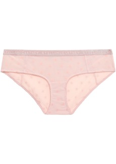 Stella Mccartney Woman Betty Twinkling Flocked Stretch-mesh Low-rise Briefs Baby Pink