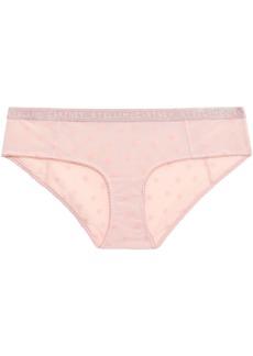 Stella Mccartney Woman Flocked Stretch-mesh Low-rise Briefs Baby Pink