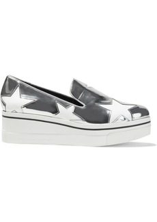 Stella Mccartney Woman Binx Star Cutout Faux Mirrored-leather Platform Slip-on Sneakers Silver