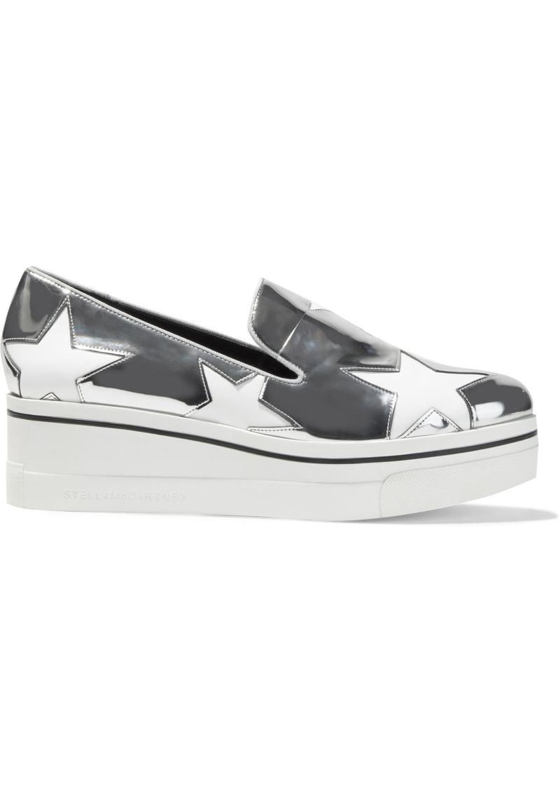 Stella Mccartney Woman Binx Star Cutout Faux Mirrored-leather Platform Slip-on Sneakers Silver