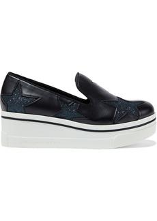 Stella Mccartney Woman Binx Star Glitter-trimmed Faux Leather Platform Slip-on Sneakers Black