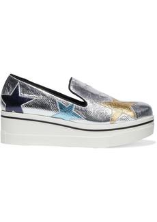 Stella Mccartney Woman Binx Star Metallic Faux Cracked-leather Platform Slip-on Sneakers Silver