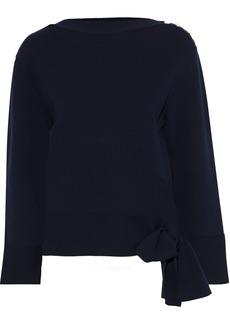Stella Mccartney Woman Bow-detailed Cotton Sweater Navy