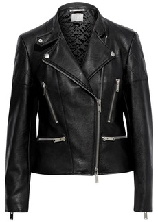 Stella Mccartney Woman Broome Quilted Faux Leather Biker Jacket Black
