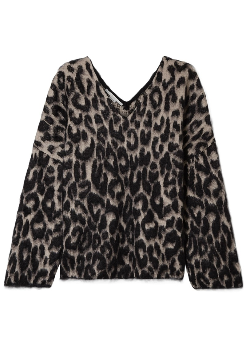 Stella Mccartney Woman Brushed Cotton-blend Jacquard Sweater Animal Print