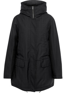 Stella Mccartney Woman Bruthen Pinstriped Wool-blend Gabardine Hooded Parka Black