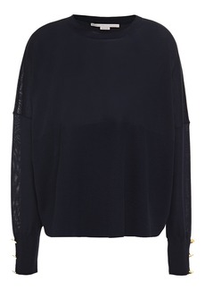 Stella Mccartney Woman Button-embellished Wool And Silk-blend Sweater Midnight Blue