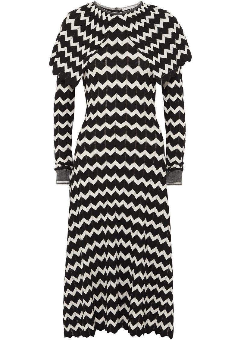 Stella Mccartney Woman Cape-effect Intarsia Wool Midi Dress Black