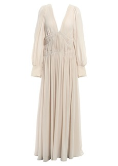 Stella Mccartney Woman Carleigh Shirred Silk-georgette Maxi Dress Ecru