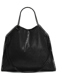 Stella Mccartney Woman Chain-trimmed Faux Brushed-leather Shoulder Bag Black