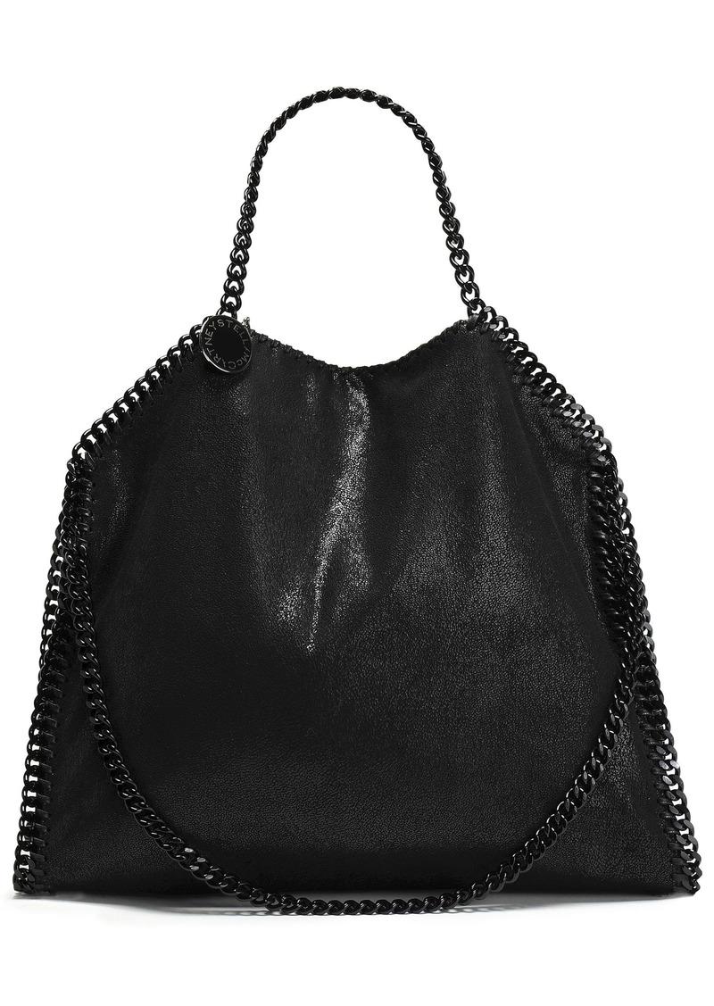 Stella Mccartney Woman Chain-trimmed Faux Brushed-leather Shoulder Bag Black