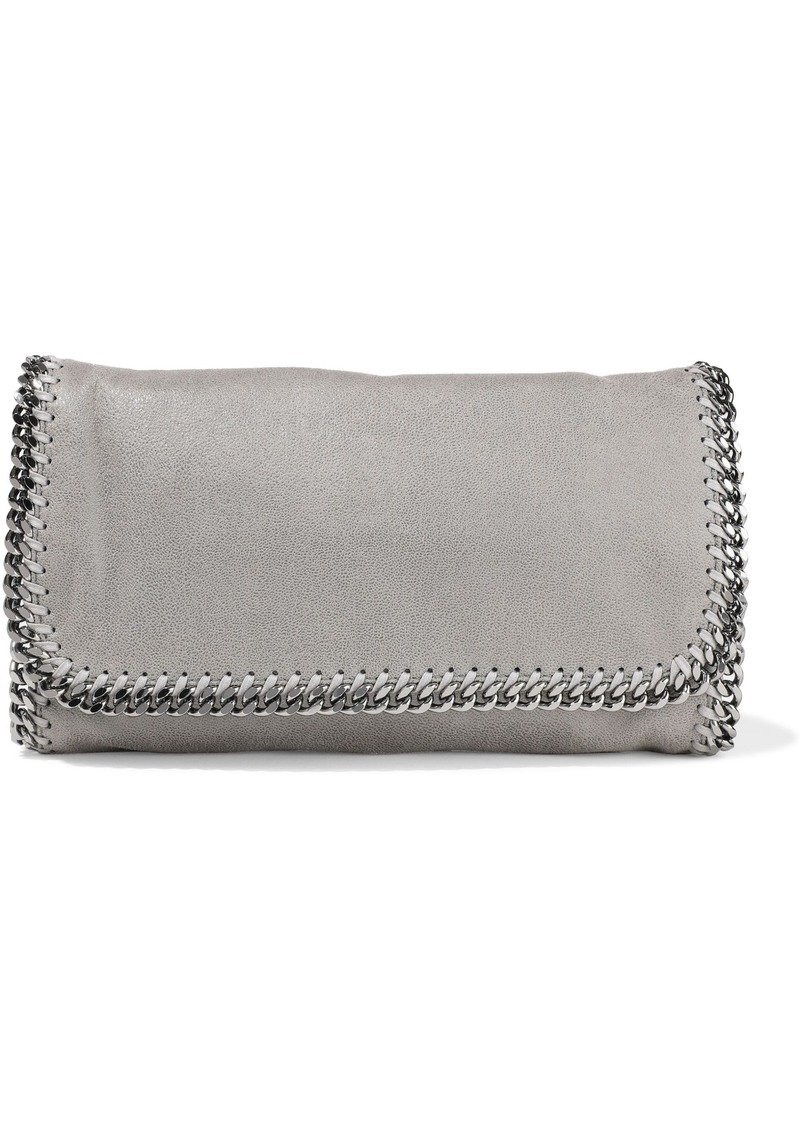 Stella Mccartney Woman Falabella Faux Brushed-leather Clutch Gray