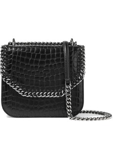 Stella Mccartney Woman Chain-trimmed Glossed Faux Croc-effect Leather Shoulder Bag Black