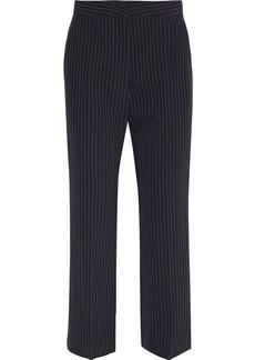 Stella Mccartney Woman Charlie Cropped Pinstriped Wool-twill Straight-leg Pants Midnight Blue