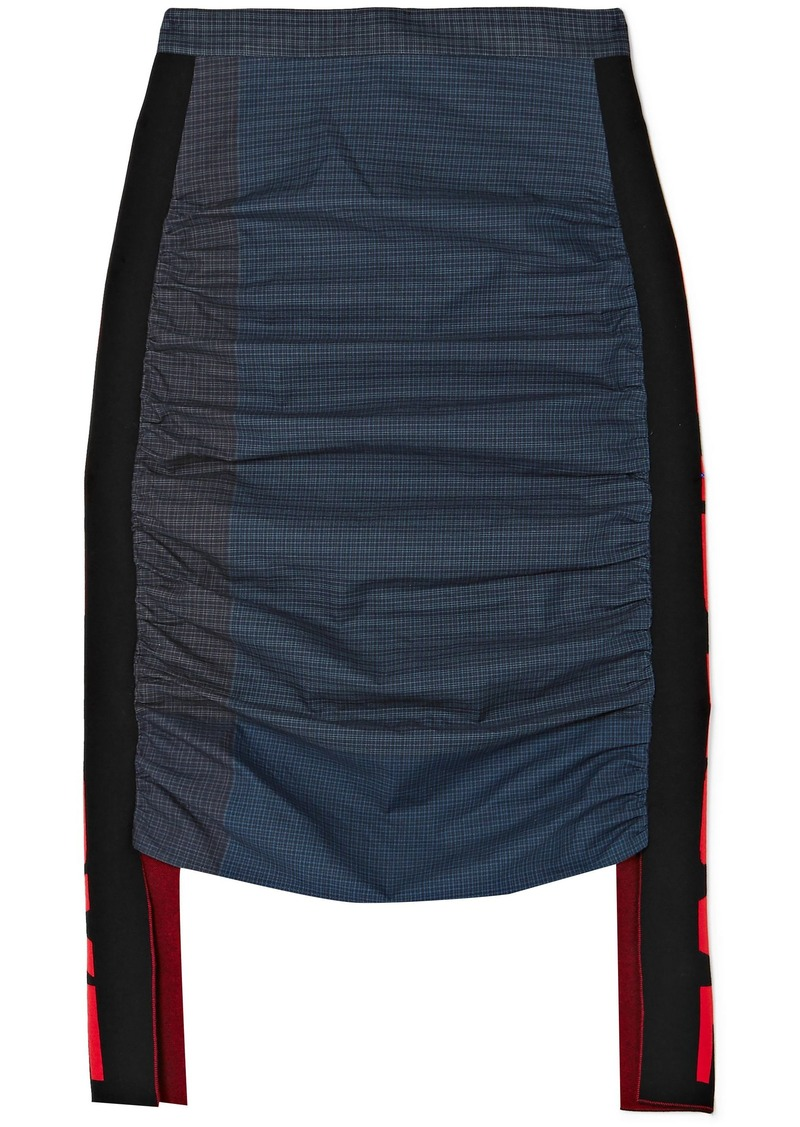Stella Mccartney Woman Checked Paneled Ruched Cotton-poplin Skirt Indigo