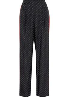 Stella Mccartney Woman Cicely Monogram-print Silk Crepe De Chine Straight-leg Pants Black