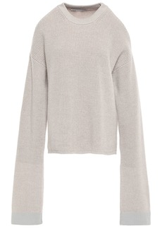 Stella Mccartney Woman Cold-shoulder Ribbed Wool Sweater Neutral