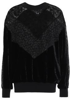 Stella Mccartney Woman Corded Lace-paneled Velvet Sweatshirt Black