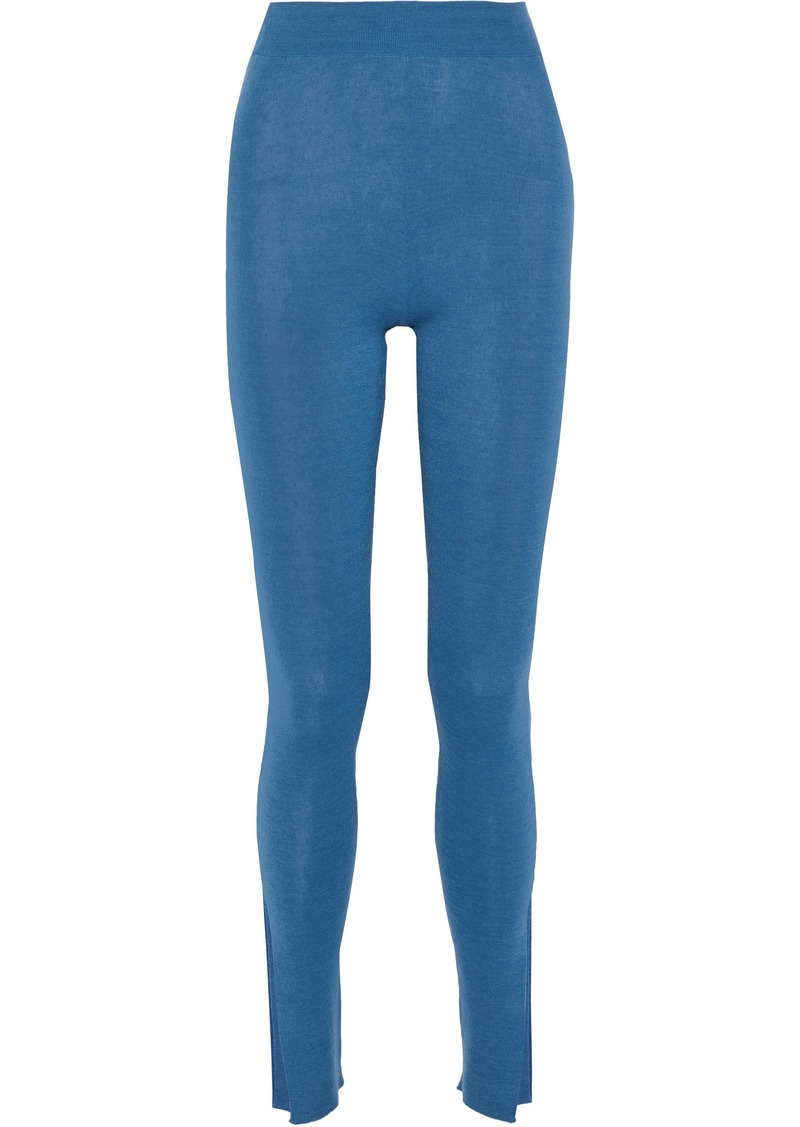 Stella Mccartney Woman Cotton-blend Leggings Blue