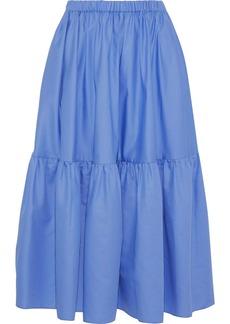 Stella Mccartney Woman Cotton-poplin Midi Skirt Blue