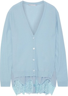 Stella Mccartney Woman Crepe De Chine-paneled Wool Cardigan Sky Blue