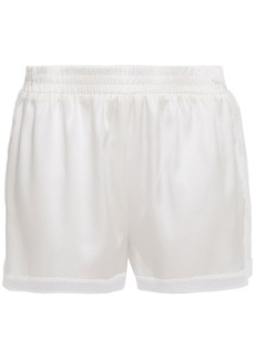 Stella Mccartney Woman Cressie Charming Lace-trimmed Stretch-silk Satin Pajama Shorts Ivory
