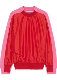 Stella Mccartney Woman Crinkled Shell-paneled Wool Sweater Tomato Red