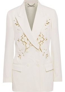 Stella Mccartney Woman Cristal Double-breasted Broderie Anglaise Twill Blazer Ivory