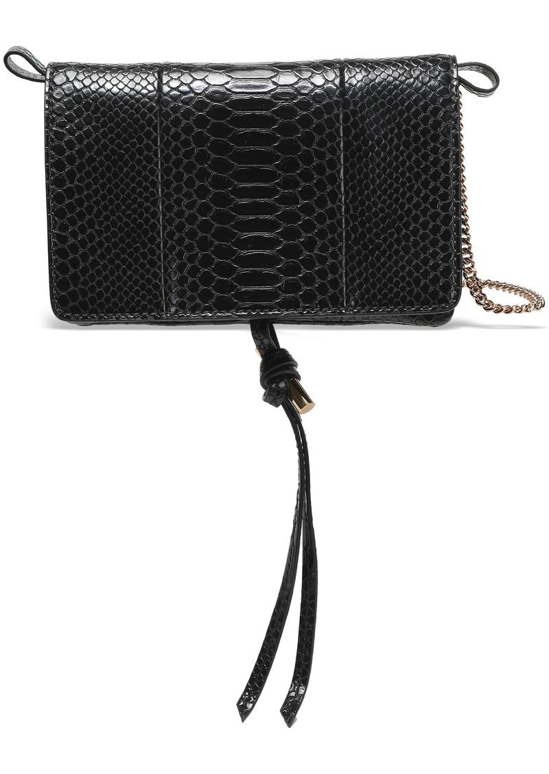 Stella Mccartney Woman Croc-effect Faux Leather Shoulder Bag Black