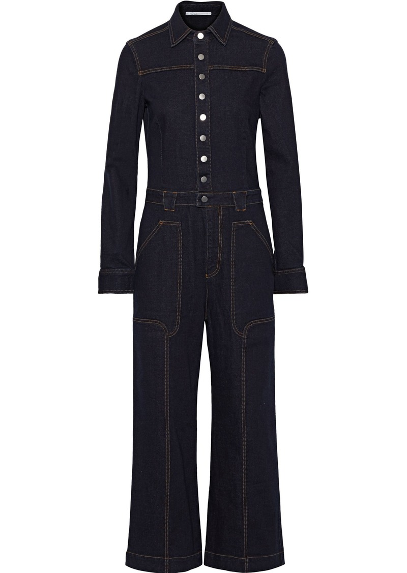 Stella Mccartney Woman Cropped Denim Jumpsuit Dark Denim