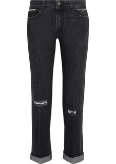 Stella Mccartney Woman Cropped Distressed Mid-rise Straight-leg Jeans Black