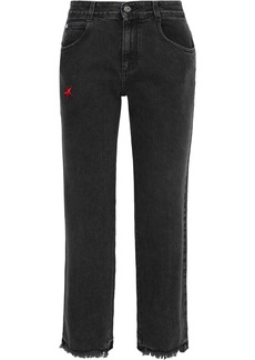 Stella Mccartney Woman Cropped Frayed Embroidered Mid-rise Straight-leg Jeans Black