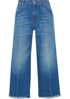 Stella Mccartney Woman Cropped Frayed High-rise Wide-leg Jeans Mid Denim