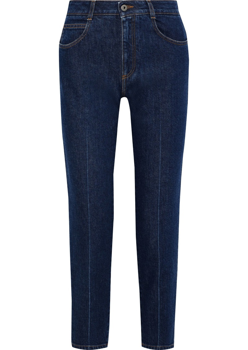 Stella Mccartney Woman Cropped High-rise Slim-leg Jeans Mid Denim