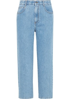 Stella Mccartney Woman Cropped Lace-up High-rise Straight-leg Jeans Light Denim