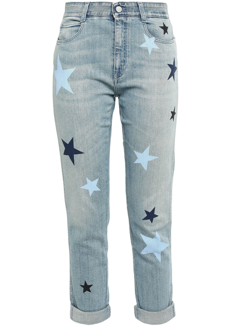Stella Mccartney Woman Cropped Printed Mid-rise Slim-leg Jeans Light Denim